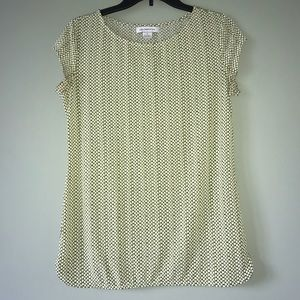 Liz Claiborne Green and White Shingle blouse